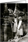 Daughter, Flower Girl Invitation, Two Little Girls by Pond card