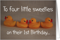 Quadruplets First Birthday card