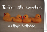 Quadruplets Happy Birthday card