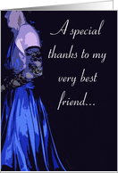 Best Friend Matron of Honor Thanks (Blue Dress) card