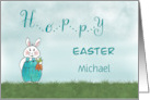 Hoppy Easter Bunny Rabbit - Custom Name - Michael card