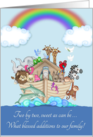 Twins Birth Announcement - Noah's Ark card