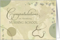 Nurse School Congratulations - neutral colors w/stethoscope card