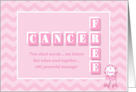 5 Year Anniversary Cancer Free! Custom pink chevron congratulations card