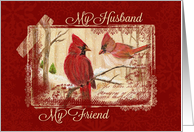 Christmas, My Husband My Friend - Redbird couple card