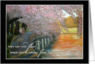 Spouse Anniversary - Time flies, couple on cherry blossom pathway card