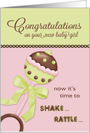 Ratlle - Congratulations on new baby girl card