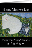 Happy Mother's Day from cats - folk art painting card
