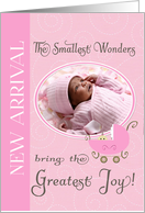 New Baby Announcement, Pink - Photo Card Template card