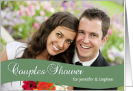 Couples Shower Invitation, Green - Custom Photo Card