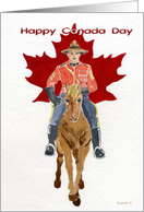 Happy Canada Day,Canadian Mountie watercolor with horse card