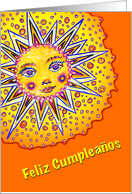 Spanish Birthday, Baby Sunface with Oranges card