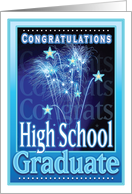 Congratulations High School Graduation Festive Fireworks Stars card