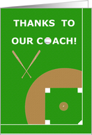 Baseball Coach Thank You Greeting Card From Team Members card