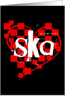 checkered ska heart card