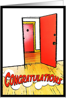 congratulations on your new apartment : comic doorway card
