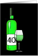40th birthday : halftone wine bottle and glass card