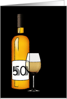 50th birthday : halftone wine bottle and glass card