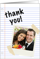 thank you for the wedding gift notebook paper (photo card) card