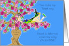 Vintage Valentine from Pet Bird, Custom Carving in Tree Trunk card