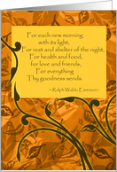 Thanksgiving for Friend, Quote by Ralph Waldo Emerson card
