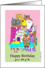 Birthday Greetings from All of Us, Cat Characters Illustration card