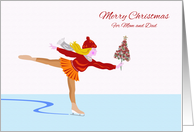Merry Christmas for Mom and Dad, Ice Skater With Tree card