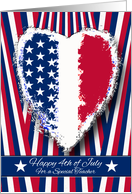 Fourth of July for Teacher, Patriotic Heart card