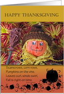 Thanksgiving Greetings, Scarecrow and Fall Poem card