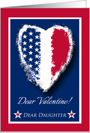 Valentine's Day for Military Daughter, Patriotic Heart card