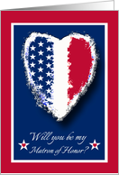 Military Wedding Invitation for Matron of Honor, Patriotic Heart card