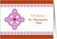 For My Partner on St. Dwynwen's Day, Celtic Cross & Heart card