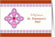 For My Fiance on St. Dwynwen's Day, Celtic Cross & Heart card
