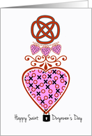 St. Dwynwen's Day, XOXO Heart With Celtic Knot and Lock card