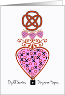 Dydd Santes Dwynwen, XOXO Heart With Celtic Knot and Lock card