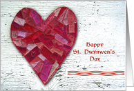 Happy St. Dwynwen's Day, Stitched Patchwork Heart card