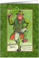 Vintage St. Patrick's Day for Grandparents, Leprechaun & Shamrocks card
