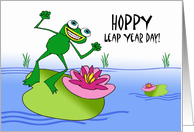 Leap Year Day, Happy and Hoppy Frog on Lily Pad card