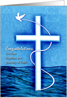 Congratulations on Baptism for Adult, Cross and Dove card