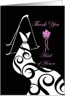 Wedding, Maid of Honor Thank You, Contemporary Gown & Veil card