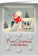 Vintage First Christmas in Your New Home, Santa & Fox Terriers card