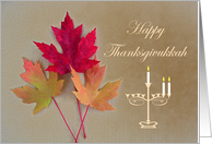 Thanksgivukkah Autumn Leaves and Menorah card