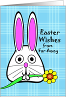 Easter Wishes from Far Away, Bunny with Flower, Blue Plaid card