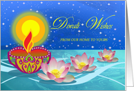 Diwali, From Our Home to Yours, Diya Lamp with Flowers on the Water card