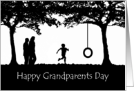 Grandparents Day Silhouette, Grandchild Running to Tire Swing card