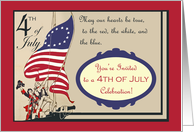 4th of July Celebration Invitation, Hoisting the U.S. Flag card