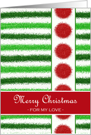 Christmas for Partner, Faux Glitter, Green Stripes Red Circles card