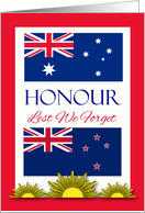 Lest We Forget, Honouring Australian New Zealand Soldiers, Flags card