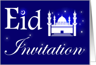 Eid Invitation, White Mosque with Stars on Blue Background card