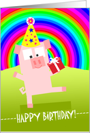 Over the Hill and Rainbow Birthday, Cute Pig with Party Hat and Gift card